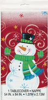 Snowman Swirl Plastic Table Cover